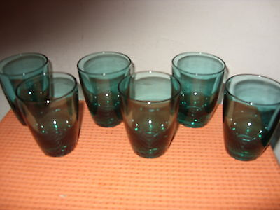 Set of 6 Vintage Retro England Turquoise Blue / Green Glass Drinking Tumblers