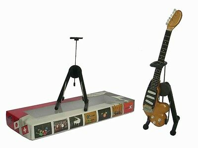 NEW High Quality Miniature Guitar and stand - Wangcaster Brown Mini Guitar