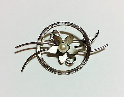 Vintage Sterling Silver Bond Boyd 925 Flower Brooch Freshwater Pearl Collectible