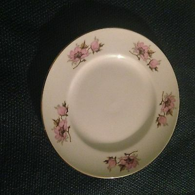 Crown Staffordshire White Plate Pink Flowers