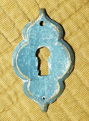 Paint Worn Blue KBC CAST BRASS Keyhole Cover -ESCUTCHEON. Drawer Door.