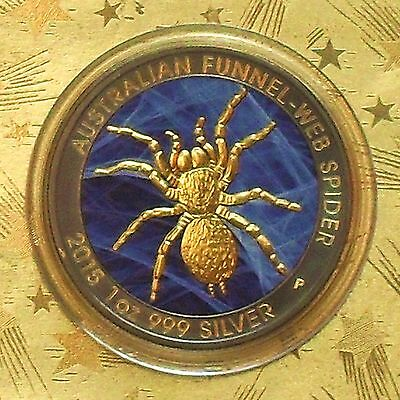 2015 Funnel Web Spider 1oz Silver Coin Gold Gilded Ruthenium Colorized VERY RARE