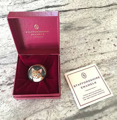 Staffordshire Enamels Tabby Cat Small Pill Box- excellent