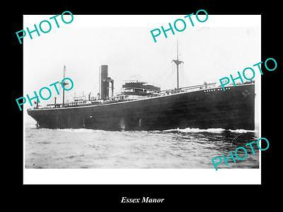 OLD LARGE HISTORIC MERCHANT SHIP PHOTO OF THE STEAMSHIP SS ESSEX MANOR c1920s