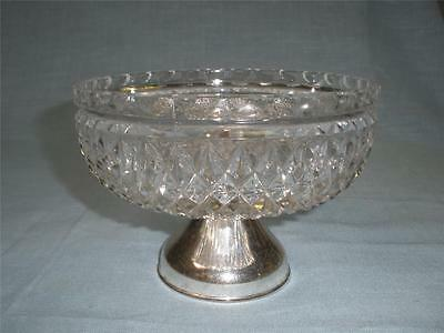 Fabulous Patterned Crystal Dish With Silver Plated Stand