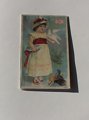 1800's Victorian Trade Card James Pyle's Pearline Soap Girl Feeding Birds
