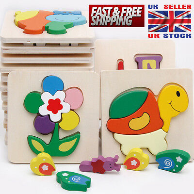 New Zoo Animals Wooden Jigsaw Children Kids Baby Learning Educational Puzzle Toy