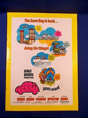 Vintage Disney 1974 Press Kit Herbie Rides Again Helen Hayes with Ad Pad RARE!