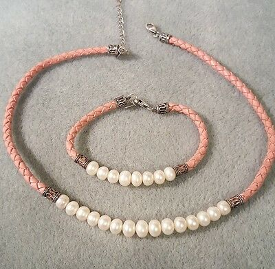 Sterling Silver~Pearl W/ Braided Pink Leather Necklace & Bracelet~Signed IWI~QVC