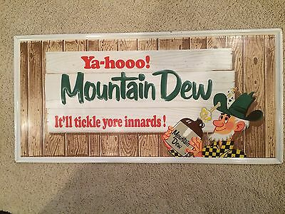 """1965 Mountain Dew Sign 35"""" x 17"""" Stout Sign Co."""