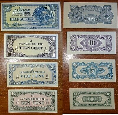 Netherlands East Indies Dutch Japanese Occupational (4) Different Notes  !!!!