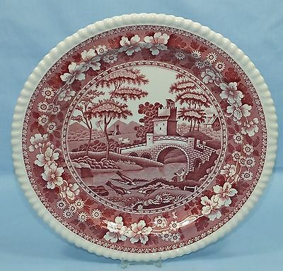 Spode Tower Pink Very Large Round Platter Plate Red