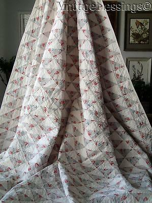"""Graphic Tiny Triangles VINTAGE Flying Geese QUILT 84x84"""""""