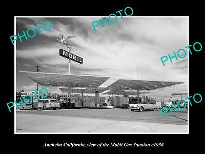 OLD LARGE HISTORIC PHOTO OF ANAHEIM CALIFORNIA, THE MOBIL GAS STATION c1950