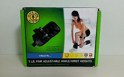 Gold's Gym Ankle Weights 5 Lbs Pair Adjustable Exercise Running Training Tool
