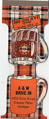 A & W Root Beer Drive In Matchbook cover Drayton Plains, Michigan Jewelite