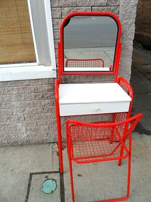 Metal DESK Vintage VANITY w/ MIRROR & Fold Up METAL CHAIR Cushion