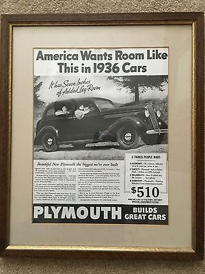 1936 Plymouth Advertisement! Professionally Framed!