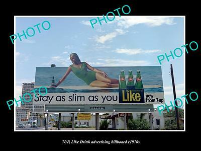 OLD LARGE HISTORIC PHOTO OF 7up LIKE SOFT DRINK ADVERTISING BILLBOARD c1970s