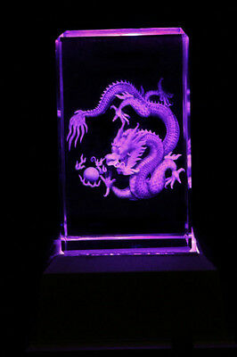 Chinese Dragon Laser Collectable Inscribe Crystal LED Night Light Gift DRLG05D