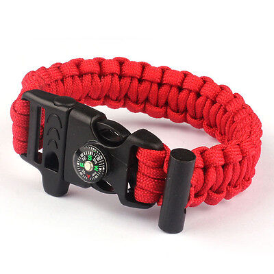 Rope Paracord Survival Bracelet Flint Fire Starter Compass Whistle Red