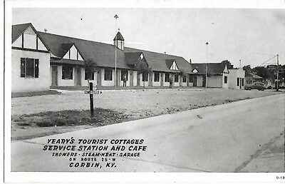 YEARY's TOURIST COTTAGES, SERVICE STATION & CAFE, CORBIN KENTUCKY 1943 KY.