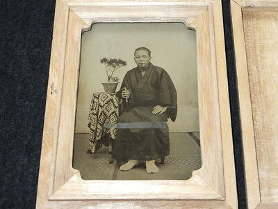 ea03 1870s Japan Old Photo : Japanese Man with Folding Fan / Ambrotype Osaka