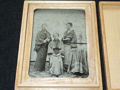 ea06 1880s Japan Old Photo : Japanese Daughters with Mother / Ambrotype Woman