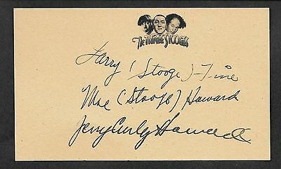The Three Stooges Autograph Reprint On Genuine Original Period 1940s 3x5 Card