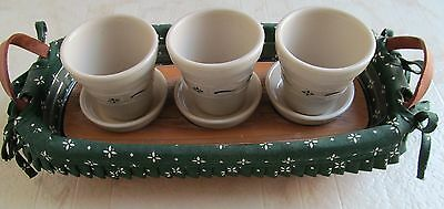 Longaberger Small Flower Pot Basket w/Protector, Riser,3 Green Pots and Liner