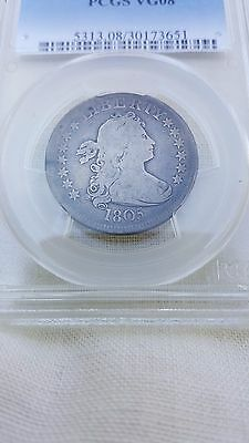 Early 1805 US Draped Bust Quarter 25 Cents Silver PCGS VG 08 Heraldic Eagle Type