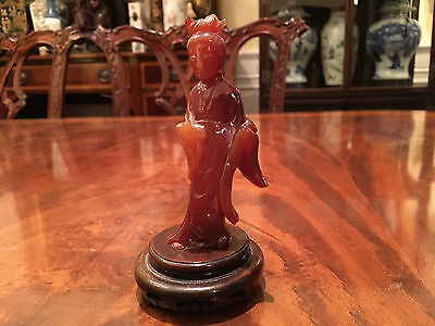A Chinese Antique Carved Agate Guanyin Statue with Wooden Stand.