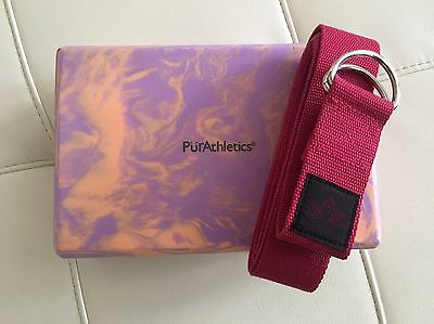 PurAthletics Yoga Block And Clever Yoga Strap NEW