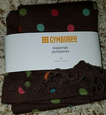 GYMBOREE WINTER CHEER BROWN w/ POLKA DOTS LEGGINGS  3T NWT