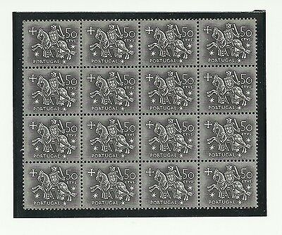 Portugal 1953 Dom Diniz 50c large mint block of 16 stamps