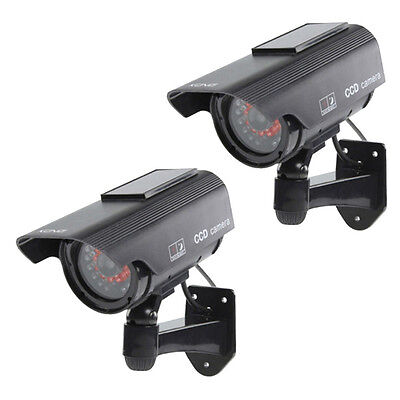 2 X Solar Power Fake Dummy Security CCTV Camera Waterproof IR LED Surveillance