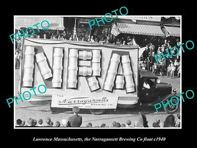 OLD HISTORIC PHOTO OF LAWRENCE MASSACHUSETTS, NARRAGANSETTS BREWERY FLOAT c1940