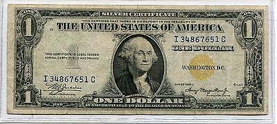 1934-A $1  North Afarica Yellow Seal Silver Certificate - Extra Fine Condition