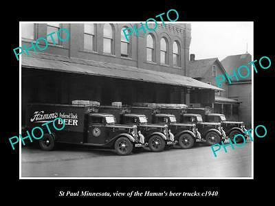 OLD LARGE HISTORIC PHOTO OF ST PAUL MINNESOTA, THE HAMM BREWERY TRUCK c1940 2