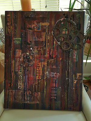 Code Red Mixed Media Art Assemblage