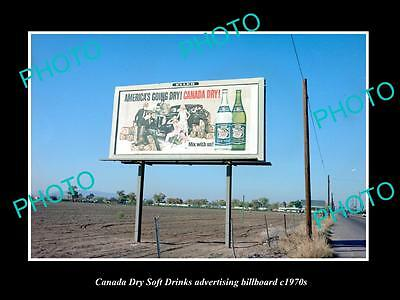 OLD LARGE HISTORIC PHOTO OF CANADA DRY SOFT DRINK ADVERTISING BILLBOARD c1970s 2