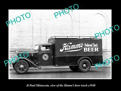 OLD LARGE HISTORIC PHOTO OF ST PAUL MINNESOTA, THE HAMM BREWERY TRUCK c1940 1