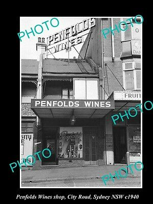 OLD LARGE HISTORIC PHOTO OF THE PENFOLDS WINES SHOP, CITY Rd SYDNEY NSW c1940