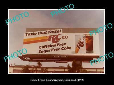 OLD LARGE HISTORIC PHOTO OF RC ROYAL CROWN COLA ADVERTISING BILLBOARD c1970s 2
