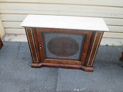 56020 Marble Top Etched Glass Credenza Chest