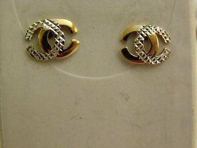 9ct brand new yellow and white gold Chanel style earrings