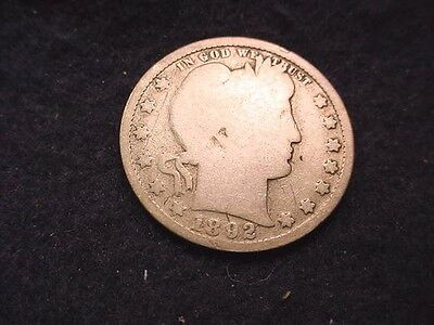 1892 Barber Quarter Nice Key Date Coin---Free Shipping!!  #5