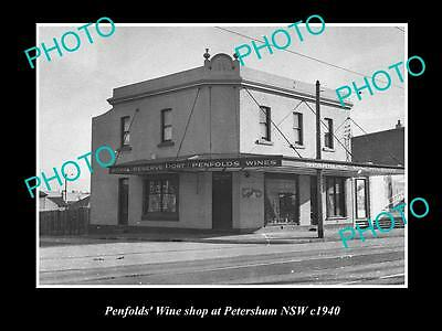 OLD LARGE HISTORIC PHOTO OF THE PENFOLDS WINES SHOP, PETERSHAM NSW c1940