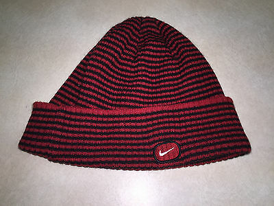 NIKE Red & Black Striped Beanie with Swoosh YOUTH ONE SIZE FITS ALL