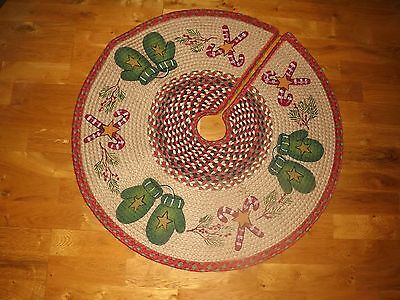 "Christmas Tree Skirt Braided Jute ""Candy Cane Mittens"" Artist Susan Burd NWT"